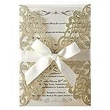 Biglietti di invito con motivo tagliato al laser con pizzo floreale, per inviti di nozze, feste di fidanzamento, compleanno, baby shower Oro champagne