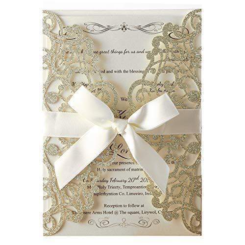 Hosmsua 20x Hochzeit EinladungsKarten Für Lasercut Elegante Blume Spitze Glückwunsch Einladung Karten, 20 Stück inkl Umschläge (Champagner Glitzer)