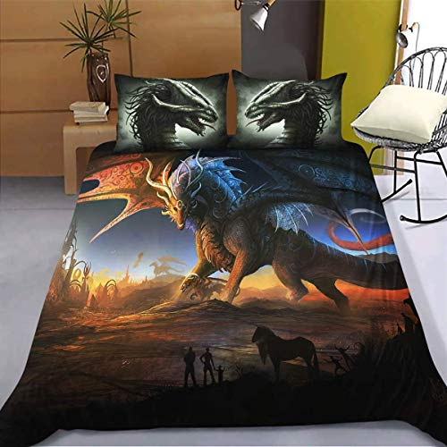 JLU Cartoon Flying Dragon Duvet Cover with Pillowcases 3D PrintedSet with Zipper Closure Double 3PCS, 200 * 200