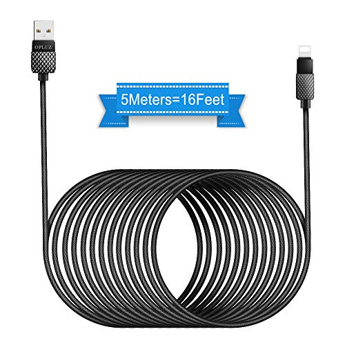 Opluz 16FT Charging Cable, 5M USB Phone Charger Cord Fast Charging Durable Braided Nylon Cord Compatible with Phone X / 8/8 Plus / 7/7 Plus / 6S / 6S Plus / 6/6 Plus/SE, Pad and Pod Touch