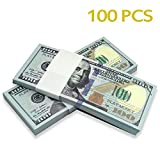 Edu-Prop $100X100 Pcs Total $10,000 Dollar Currency Props Money Bills Real Looking Copy Double-Sided Printing - for Movie, TV, Videos, Advertising & Novelty