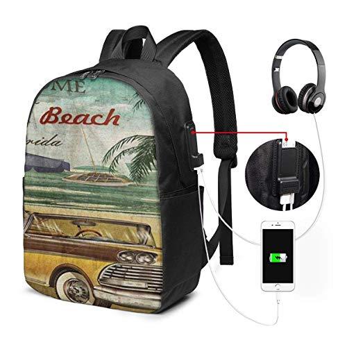 Lawenp Laptop-Rucksack, 17-Zoll-College-Schulrucksack mit USB-Ladeanschluss, lässiger Tagesrucksack für unterwegs (Willkommen in Delray Beach, Florida)