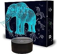 XKUN 3D常夜灯、目の錯覚フットボールヘルメットベッドサイドランプ16色リモコンの変更デスモデルクリエイティブな寝室の装飾最高の誕生日プレゼントクールなアイデア,象