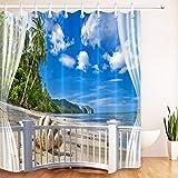 LB Duschvorhang Tropischer Strand 150X200CM Grüne Palmen am Meer Bad Gardinen mit Vorhanghaken Polyester Wasserdicht Anti Schimmel Badezimmer Vorhang