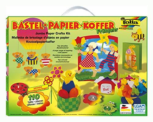 folia 933 - Bastelpapierkoffer Frühjahr und Ostern, 110 Teile - Kreativset für Kinder und Erwachsene mit Bastelpapier und Dekoelementen