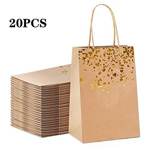 YLX Papiertüten Party Geschenk Taschen Bronzing Kraft Tasche mit Griff für Partys, Hochzeiten, Feiern, Geschenktüten, 20 Stücke (Golden)