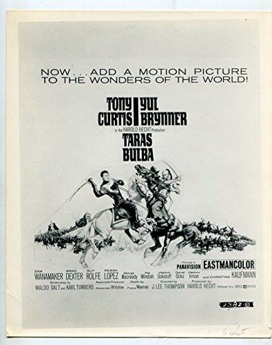 MOVIE PHOTO: Taras Bulba-Tony Curtis-Yul Brynner-8x10-B&W-Still