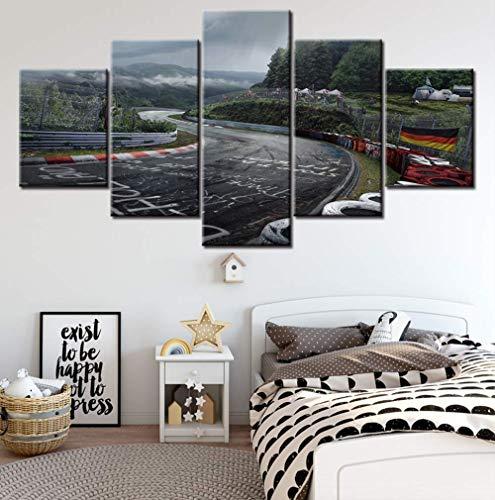 TytlPrints Leinwand Gedruckt Bilder Wandkunst Malerei 5 Panel Nürburgring Rally Road Dekoration Modul Poster Für Wohnzimmer