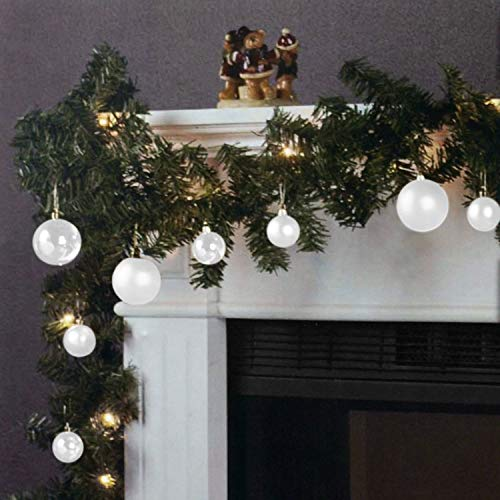 Wohaga Natalizia Ghirlanda di Abete a Corda Leggera 270cm 20 lampade 16 Sfere Bianco