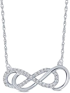 Clearance Sale 925 Sterling Silver 1/4ct Round White Natural Diamond Double Infinity Pendant Diamond Necklace For Women Teens
