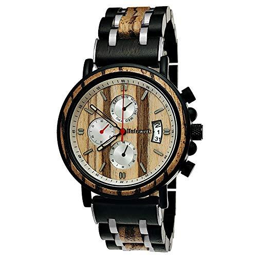 Handgefertigte Holzwerk Germany® Designer Herren-Uhr Öko Natur Holz-Uhr Chronograph Armband-Uhr Analog Quarz-Uhr Braun Schwarz Datum Holz Ziffernblatt