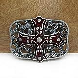 HUANGDD Hebilla de cinturón de Vaquero de Regalo de Jeans esmaltados Rojos de aleación de Zinc Retro 02240 para Hombres Bucle de 4 cm de Ancho - Color, hm