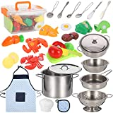 Jogotoll Kitchen Pretend Play Accessories Toys with Stainless Steel Cookware Pots and Pans Set, Cooking Utensils, Apron & Chef Hat and Cutting Play Foods for Kids, Gifts Learning Tool