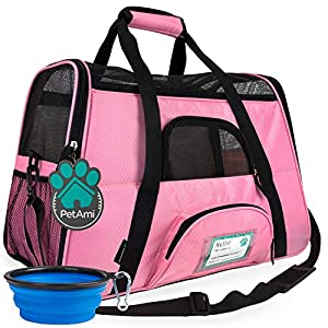 PetAmi Premium Airline Approved Soft-Sided Pet Travel Carrier   Ideal for Small – Medium Sized Cats, Dogs, and Pets   Ventilated, Comfortable Design with Safety Features (Large, Pink)
