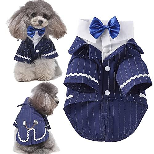 Ranphy Disfraz de esmoquin para perro pequeño a rayas para cachorro, gato,...
