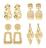 Finrezio 4 Pairs Clip On Drop Earrings Set Leaf Round Trapezoid Square Rectangle Golden Metal Geometric Clipon Earrings-Non Piercing Dangle Earrings (Gold tone)