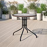 Flash Furniture 28'' Round Tempered Glass Metal Table...