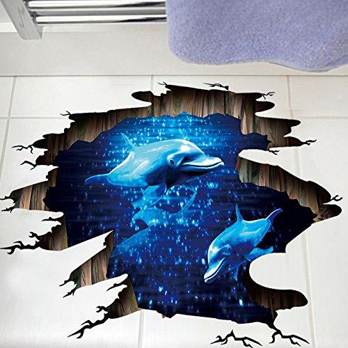3D Etiqueta de la pared, Pegatinas tridimensionales(delfín) Vinilo decorativo Decoración del hogar, Pegatina creativa Simulación Desmontable