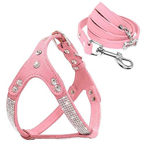 ADENG Pettorina per cani in morbida pelle scamosciata e guinzaglio per cani con strass, adatta per chihuahua di piccole e medie dimensioni (S, rosa)