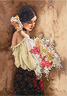 Dimensions Advanced Counted Cross Stitch Kit, Woman with Bouquet, 18 Count Beige Aida, 11'' x 15''
