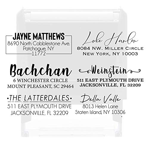Couples Modern Script with Swashes on Both Ends Self Inking Return Address Calligraphy Custom Address Stamp Personalized Newlywed Gift
