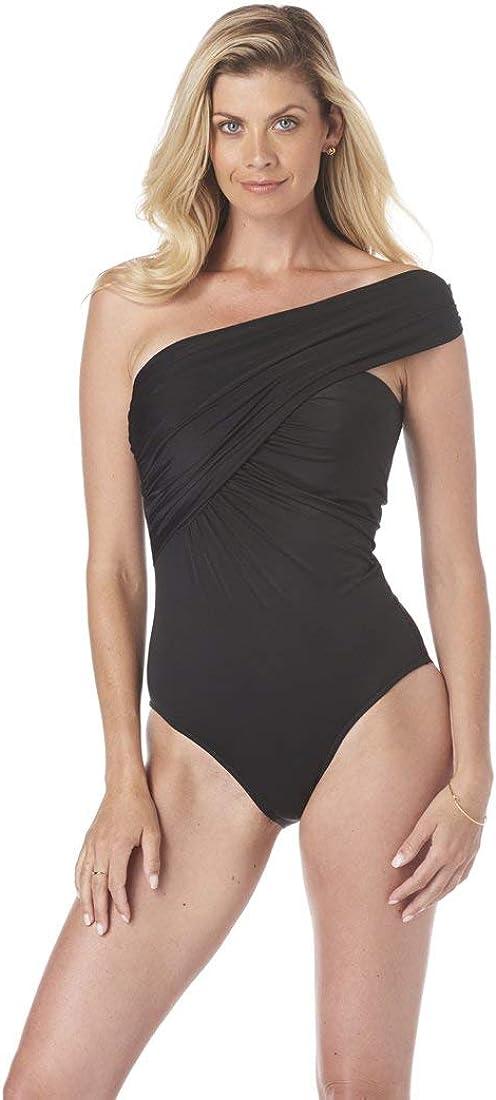 Magicsuit Women's Swimwear Solid Goddess One Shoulder Underwire Bra One Piece Swimsuit