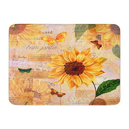 Badematte Flanell Stoff weich saugfähig Vintage Hand Aquarell Sonnenblumen und Schmetterlinge auf getönten Fetzen von Alten gemütlichen dekorativen rutschfesten Memory Badezimmer Teppich