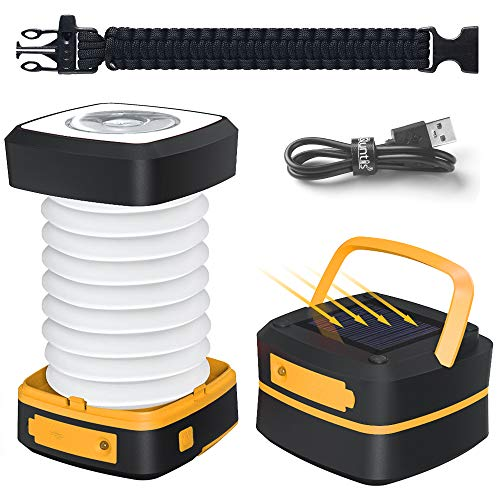 Quntis Portable LED Camping Lantern, Solar Powered or USB Rechargeable Lanterns with 3 Lighting Modes, Collapsible Mini Flashlight Emergency Power Bank for Camping Hiking Fishing Tent (Incl. Bracelet)