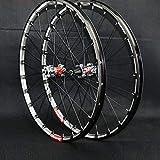 De liberación rápida de bicicletas de montaña Wheel Set Straight-pull 24 hoyos 4 de cojinete del freno de disco 26 '/27.5' 3-lados CNC de aluminio tambor Lamer Titanium Hub Red + (Un par Wheels)