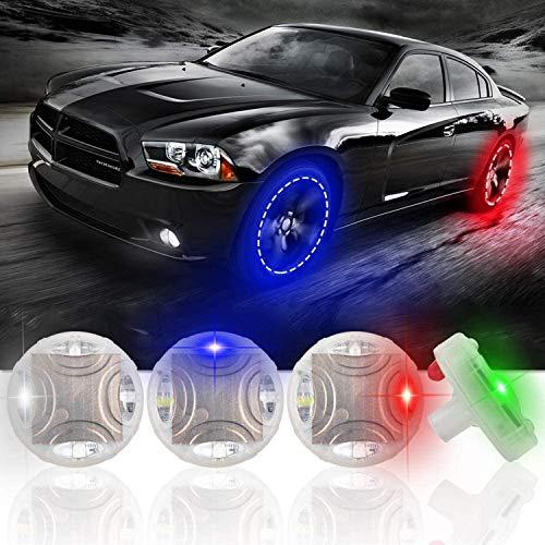 ASWT -4PCS Luces solares para Ruedas de neumáticos de automóvil, sensores de Movimiento 15 Modos Intermitentes LED de Colores Válvula de Aire para neumáticos de Ruedas de automóvil