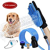 WOWGO 2019 Newest Pet Bathing Tool Dog Shower Sprayer Scrubber Grooming Glove with 4 Faucet Adapters for Dog Cat Horse Indoor Outdoor