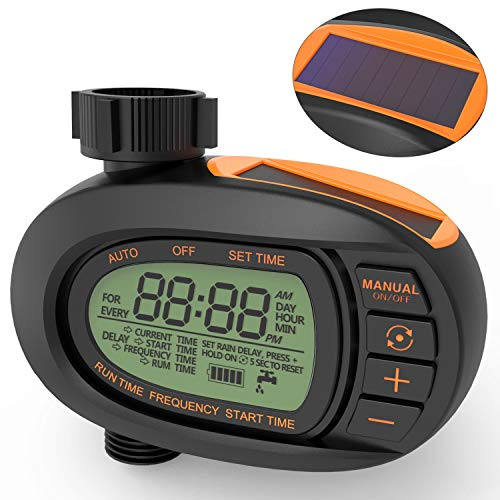 TACKLIFE Watering Timer, Solar Powerd Garden Timer Capable for One Year, Huge LCD Display Screen, Big comfortable Buttons, Smooth and Concise Oval Design, Single-valve, GWT1A