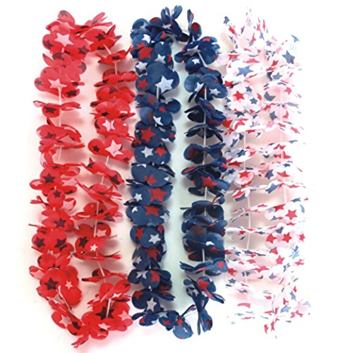 PARTYMASTER Red White And Blue Star Flag Design 4th of July & Party Decorations Flower Leis Tropical Party,Pack of 12pcs
