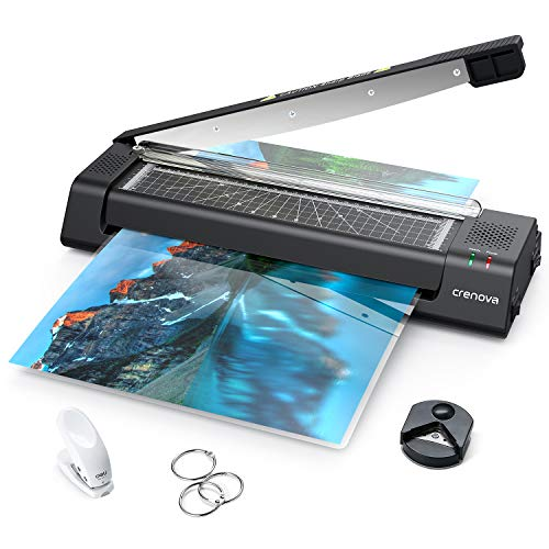 Crenova 13 inches Laminator A3 with Paper Cutter, 40pcs Laminating Sheets