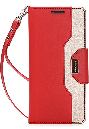 ProCase iPhone 8 Plus/7 Plus Wallet Case, Flip Fold Card Case Stylish Slim Stand Cover with Wallet Case for Apple iPhone 8 Plus/iPhone 7 Plus -Red