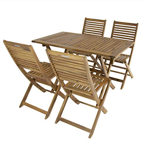 Charles Bentley FSC Acacia Hardwood 5pc Garden Furniture Set - Table & 4 Chairs