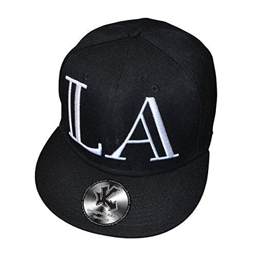 Underground Kulture LA Los Angeles Lamar Noir Casquette de Baseball Réglable Noir (Broderie 3D) Snapback