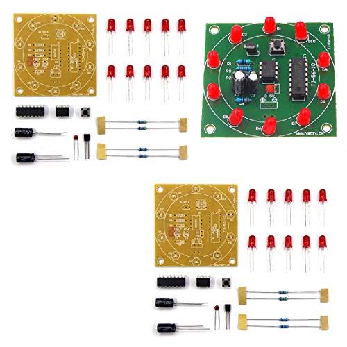 HiLetgo 2pcs NE555 CD4017 Electronic Lucky Turntable Electronic Production DIY Kit Flash Light DIY for Students Electronics Learning Study