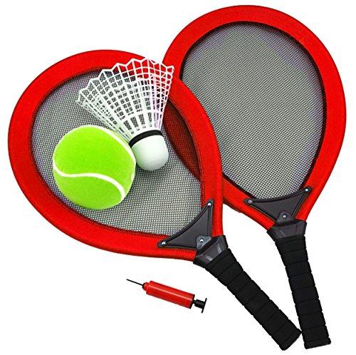 Best Sporting Jumbo-Tennis-Set, 2 Schläger, 1 Federball, 1 Tennisball, Ballpumpe, blau oder rot, Farbe:rot