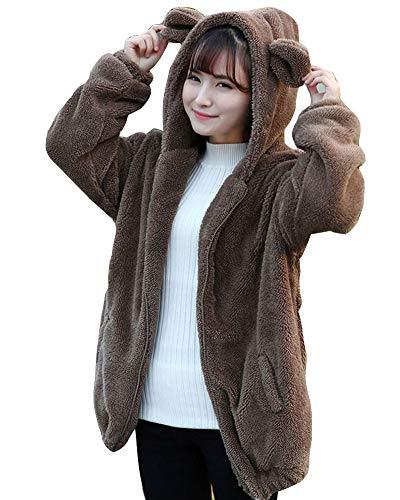 Damen Oversize Plüsch Teddybär Fleece Outwear Mantel Mit Kapuze Cartoon Sweatshirt Hoodie Kapuzenpullover mit Ohren und Schwanz Kaffee one Size