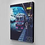 wZUN Imagen Cartel de Arte de Pared Luna estación de Tren sin rieles Lienzo Sala de Estar Pintura decoración del hogar impresión 60x85cm Sin Marco