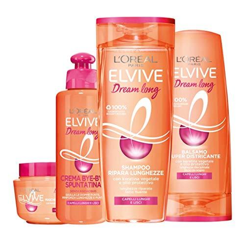 L Oréal Paris Shampoo + Balsamo + Maschera + Trattamento Dream Long, Box Dream Long con Shampoo, Balsamo, Maschera e Crema Bye-Bye Spuntatina per Capelli Lunghi, Lisci e Danneggiati, Confezione da 4