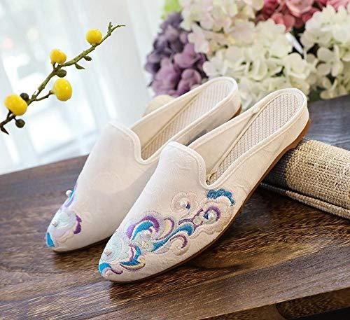 SGADSH Belleza Bordada Mujeres algodón Tela Mulas Zapatillas cómodas lienzos Diapositivas Damas hogar afuera Zapatos Puntiagudos Zapatos Casuales para Mujeres (Color : White 2, Size : 37 EU)