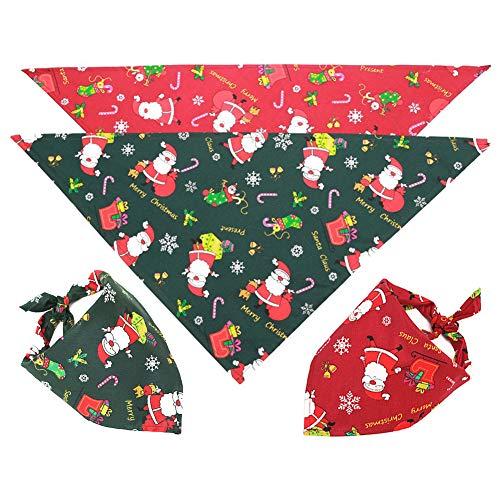 Frgasgds Pañuelo para Perros Navidad, 2 Piezas Bandanas de Perro Pañuelo Bufanda de Mascota Navidad Baberos Lavables de Perros para Perros y Gatos Baberos Triángulo para Suministros de Mascota