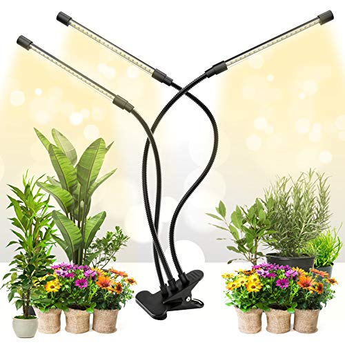 Grow Light for Indoor Plants 10 Dimmable Levels Full Spectrum LED Plant Lights with Auto On/Off 3/9/12H Timer, Adjustable Gooseneck 3 Switch Modes
