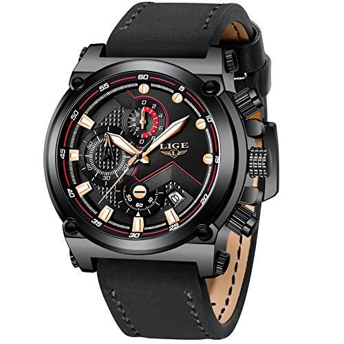 LIGE Hombre Relojes Lujo Negocios Analógico Cuarzo Relojes Hombre Moda Casual Cuero Reloj