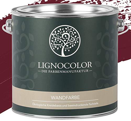 Lignocolor Wandfarbe Innenfarbe Deckenfarbe Kreidefarbe edelmatt 2,5 L (Burgundy)