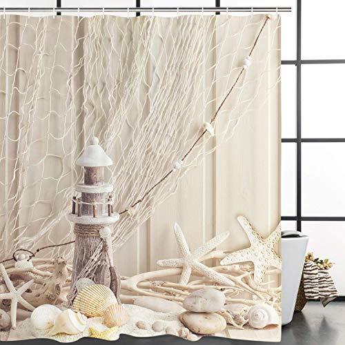Amarillo blanco estrella de mar concha concha piedra lisa marrón blanco atalaya pesca red ducha cortina baño decorativo tela impermeable
