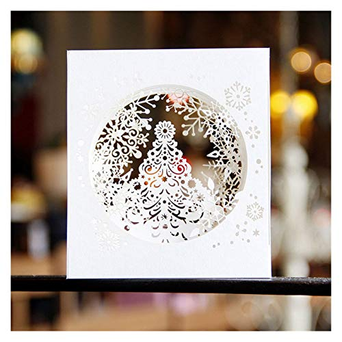 XINGYAO Greeting card Creative Greeting Cards Birthday New Year Thanksgiving Day Card With Envelope Christmas Reflection Reindeer Gift home (Color : Christmas tree)