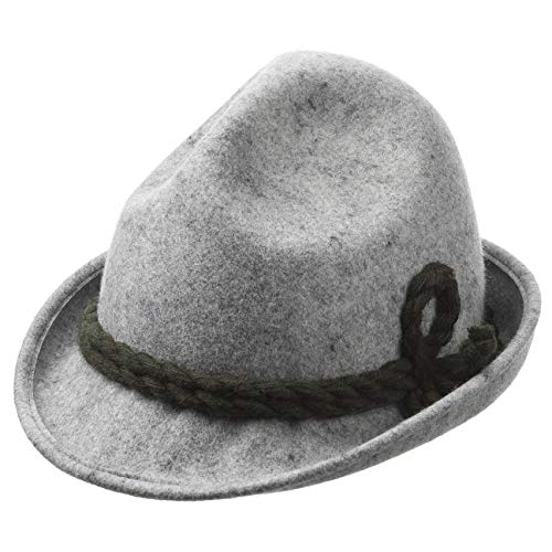 Kinder Dreispitz Wollfilzhut - Unifarbener Trachtenhut für Kinder - Sepplhut aus 100% Wollfilz - Wanderhut mit doppelter Kordel - Sommer/Winter grau 53 cm